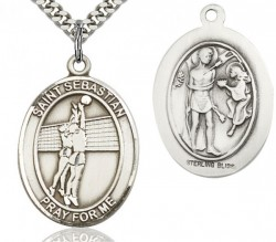 St. Sebastian Volleyball Medal, Sterling Silver, Large [BL3642]