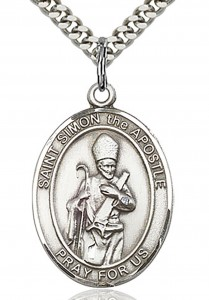 St. Simon Medal, Sterling Silver, Large [BL3675]