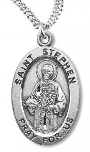 Boy's St. Stephen Necklace Oval Sterling Silver with Chain [HMR1184]
