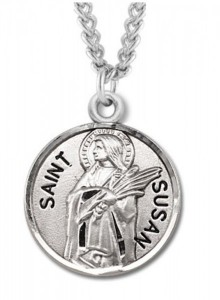 Women's St. Susan Necklace Round Sterling Silver with Chain Options [HMR1247]
