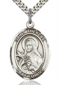 St. Theresa Medal, Sterling Silver, Large [BL3757]