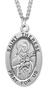 Men's St. Therese Necklace Oval Sterling Silver with Chain Options [HMR0894]