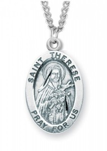 Women's St. Therese Necklace Oval Sterling Silver with Chain Options [HMR1233]