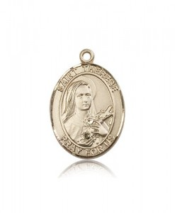 St. Therese of Lisieux Medal, 14 Karat Gold, Large [BL3760]