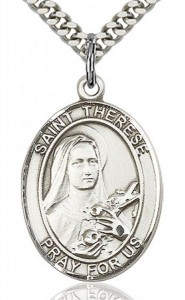 St. Therese of Lisieux Medal, Sterling Silver, Large [BL3766]