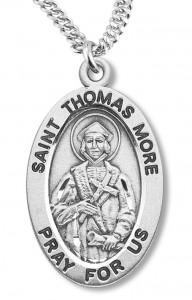 Boy's St. Thomas More Necklace Oval Sterling Silver with Chain [HMR1187]