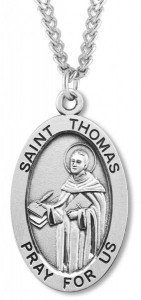 Men's St. Thomas Necklace Oval Sterling Silver with Chain Options [HMR0890]