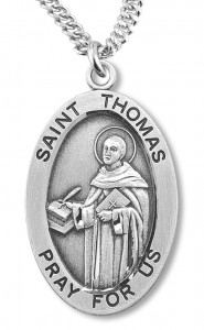 Boy's St. Thomas Necklace Oval Sterling Silver with Chain [HMR1186]