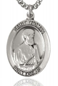 St. Thomas the Apostle Medal, Sterling Silver, Large [BL3811]
