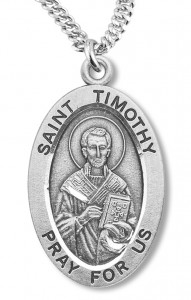 Boy's St. Timothy Necklace Oval Sterling Silver with Chain [HMR1188]