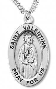 Boy's St. Valentine Necklace Oval Sterling Silver with Chain [HMR1189]