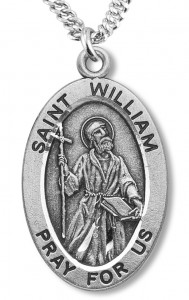 Boy's St. William Necklace Oval Sterling Silver with Chain [HMR1191]