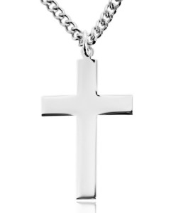Sterling Silver High Polish Flat Cross Necklace for Men [HMR2000]