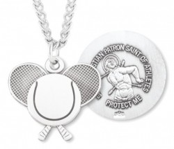Tennis Rackets Necklace with Saint Sebastian Back in Sterling Silver [HMS1105]