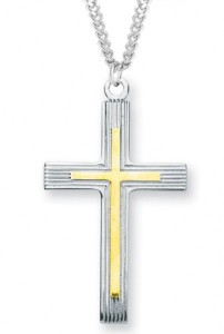 Men's Sterling Silver Two Tone Cross Necklace with Etched Borders with Chain Options [HMR0978]