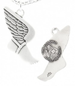 Winged Foot Track Necklace with Jesus Figure Back in Sterling Silver [HMS1115]