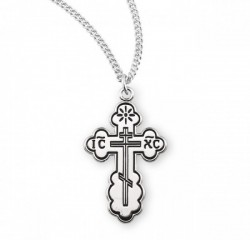 Women's Orthodox Cross Necklace, Sterling Silver with Chain [HMR0995]