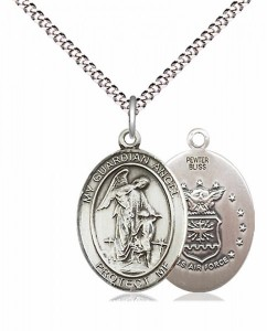Women's Pewter Oval Guardian Angel Air Force Medal [BLPW545]