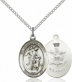 Women's Pewter Oval Guardian Angel Army Medal [BLPW546]