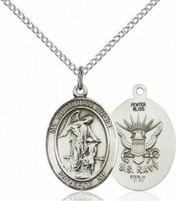 Women's Pewter Oval Guardian Angel Navy Medal [BLPW549]