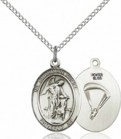 Women's Pewter Oval Guardian Angel Paratrooper Medal [BLPW550]