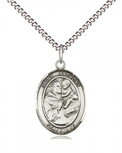 Women's Pewter Oval St. Anthony of Padua Medal [BLPW410]