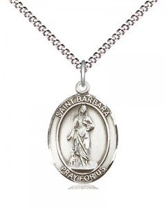 Women's Pewter Oval St. Barbara Medal [BLPW412]