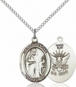 Women's Pewter Oval St. Brendan the Navigator Navy Medal [BLPW425]