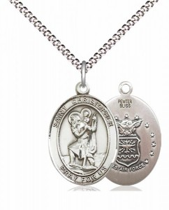 Women's Pewter Oval St. Christopher Air Force Medal [BLPW431]