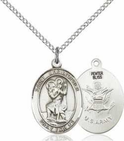 Women's Pewter Oval St. Christopher Army Medal [BLPW432]