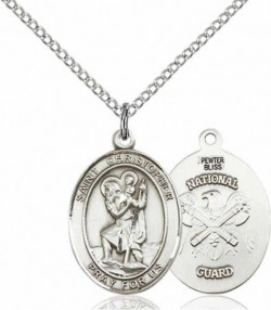 Women's Pewter Oval St. Christopher National Guard Medal [BLPW434]