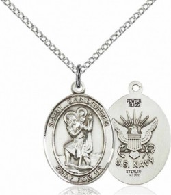 Women's Pewter Oval St. Christopher Navy Medal [BLPW435]