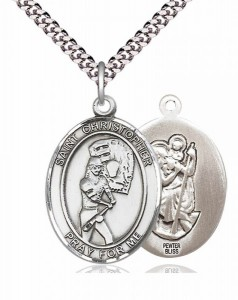 Women's Pewter Oval St. Christopher Softball Medal [BLPW386]