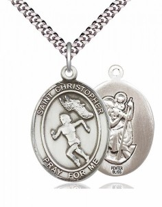 Women's Pewter Oval St. Christopher Track and Field Medal [BLPW389]