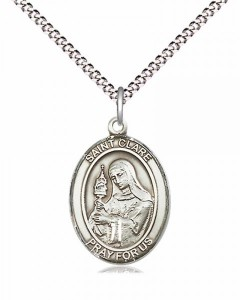 Women's Pewter Oval St. Clare of Assisi Medal [BLPW442]