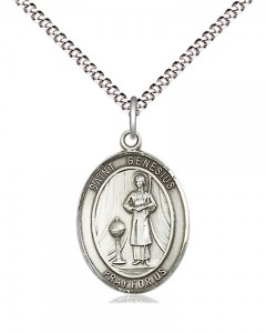 Women's Pewter Oval St. Genesius of Rome Medal [BLPW452]