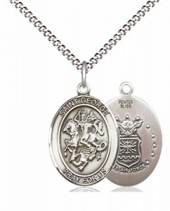 Women's Pewter Oval St. George Air Force Medal [BLPW455]