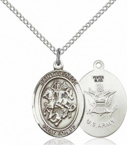 Women's Pewter Oval St. George Army Medal [BLPW456]