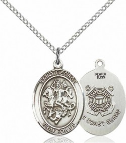 Women's Pewter Oval St. George Coast Guard Medal [BLPW457]