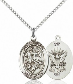 Women's Pewter Oval St. George Navy Medal [BLPW459]
