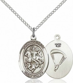 Women's Pewter Oval St. George Paratrooper Medal [BLPW460]