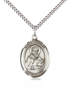 Women's Pewter Oval St. Isidore of Seville Medal [BLPW468]