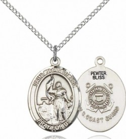 Women's Pewter Oval St. Joan of Arc  Coast Guard Medal [BLPW473]