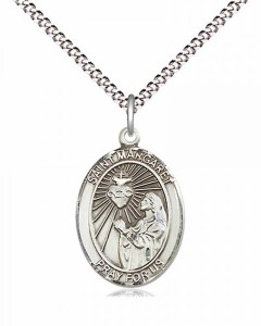 Women's Pewter Oval St. Margaret Mary Alacoque Medal [BLPW493]