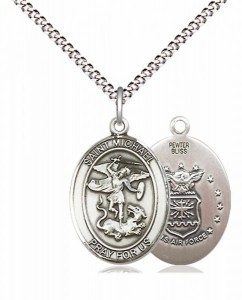 Women's Pewter Oval St. Michael Air Force Medal [BLPW498]