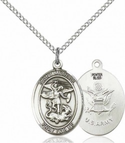 Women's Pewter Oval St. Michael Army Medal [BLPW500]