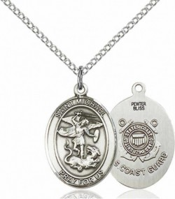 Women's Pewter Oval St. Michael Coast Guard Medal [BLPW501]