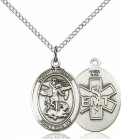 Women's Pewter Oval St. Michael EMT Medal [BLPW499]