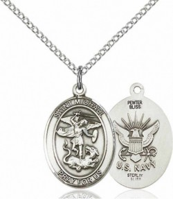 Women's Pewter Oval St. Michael Navy Medal [BLPW503]