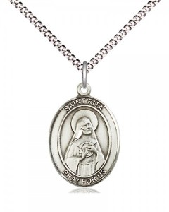 Women's Pewter Oval St. Rita of Cascia Medal [BLPW522]